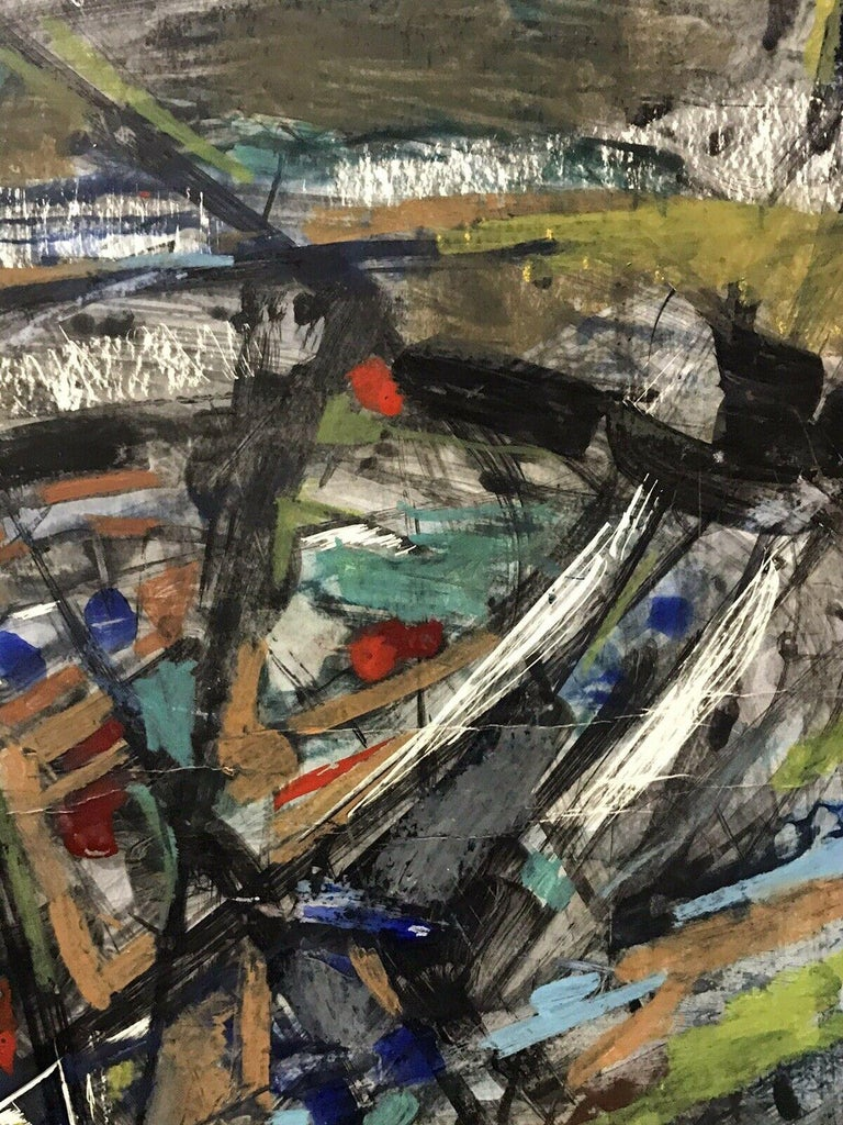 1980's FRENCH ABSTRACT OIL PAINTING - SIGNED & DATED - AMAZING SHAPES AND COLOUR For Sale 2
