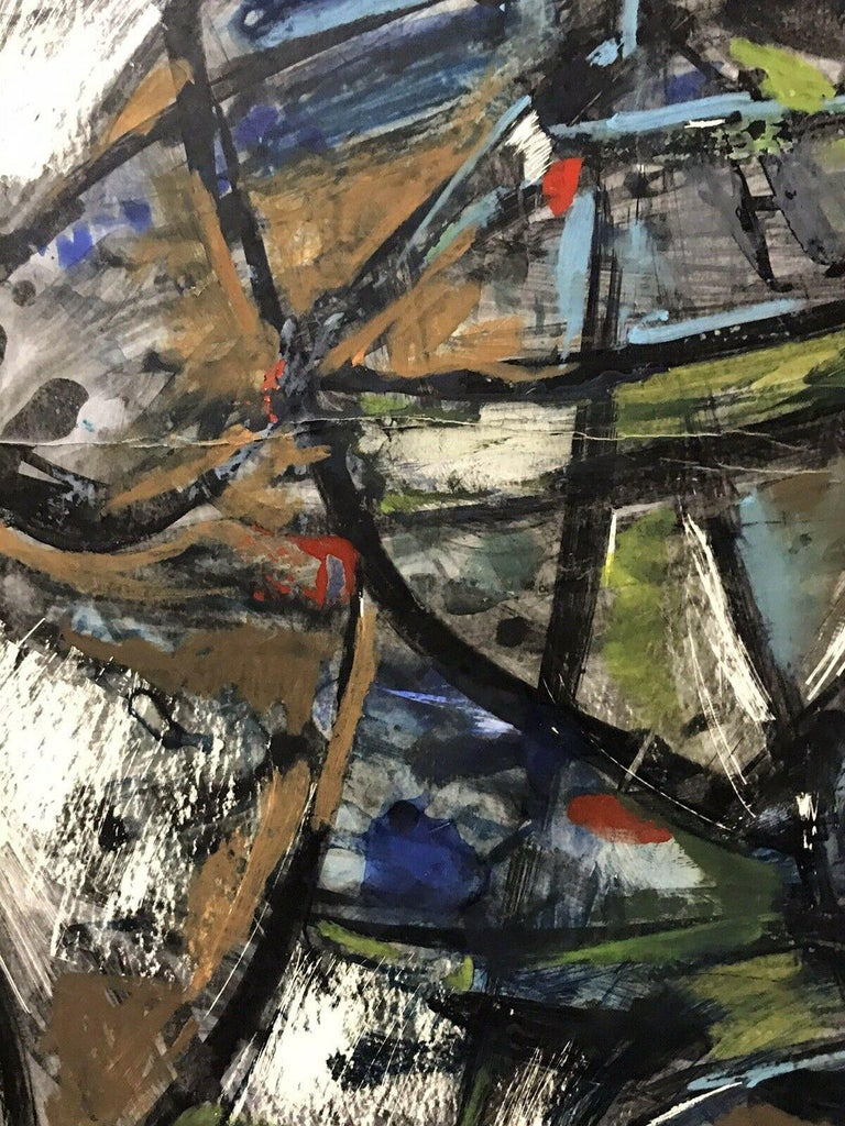 1980's FRENCH ABSTRACT OIL PAINTING - SIGNED & DATED - AMAZING SHAPES AND COLOUR For Sale 3