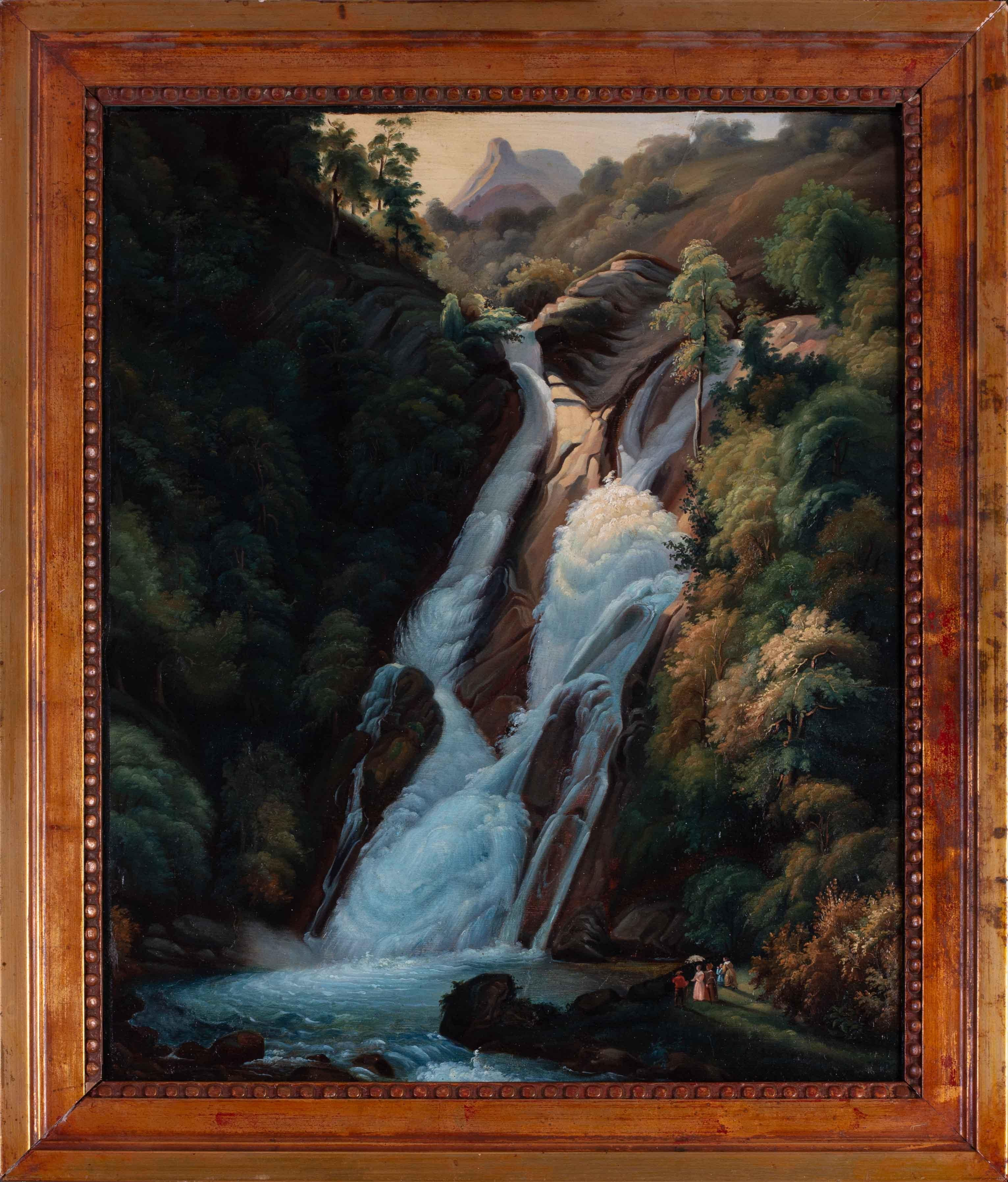 19th C. German painting of figures at a waterfall in the manner of Friedrich