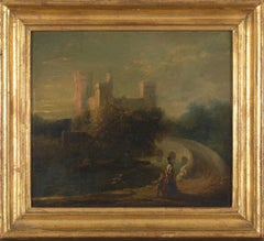 19th C, Romanticism, English School, Romantic Landscape with strolling Mother