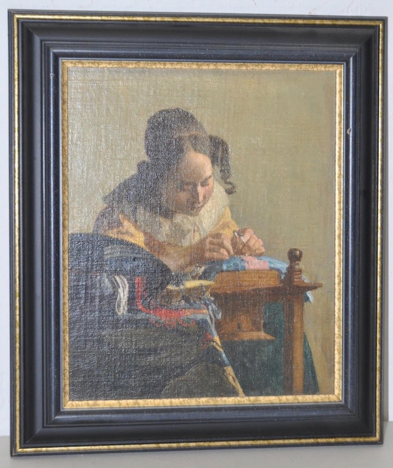 """19th c. """"The Lacemaker"""" Oil on Board after Vermeer Copied by F. Carl Smith 1898"""