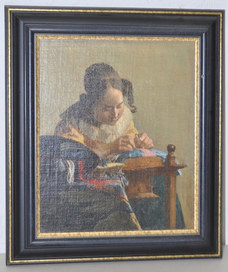 "Unknown Figurative Painting - 19th c. ""The Lacemaker"" Oil on Board after Vermeer Copied by F. Carl Smith 1898"