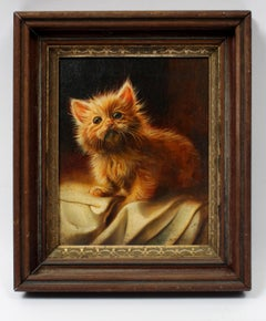 19th Century American Portrait of an Orange Kitten Framed and Signed