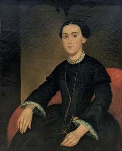 19th Century American School Portrait of a Lady in Black Dress Sitting on Chair