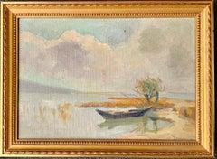 19th century antique impressionist style painting - Lake Geneva - Landscape Lake
