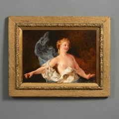 19th Century Baroque Style Study of a Female Figure Oil on Board
