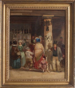 19th Century British oil painting of townsfolk bustling in a marketplace