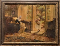 "19th Century Continental School ""Flowers For Grandmother"" Oil on Canvas"