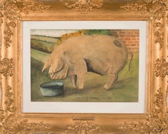 19th Century English naive oil painting of a pig