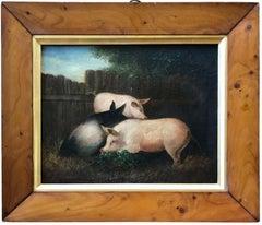 19th Century Folk Art Painting of Three Pigs