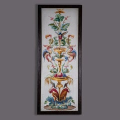 19th Century Framed Floral Painted Panel