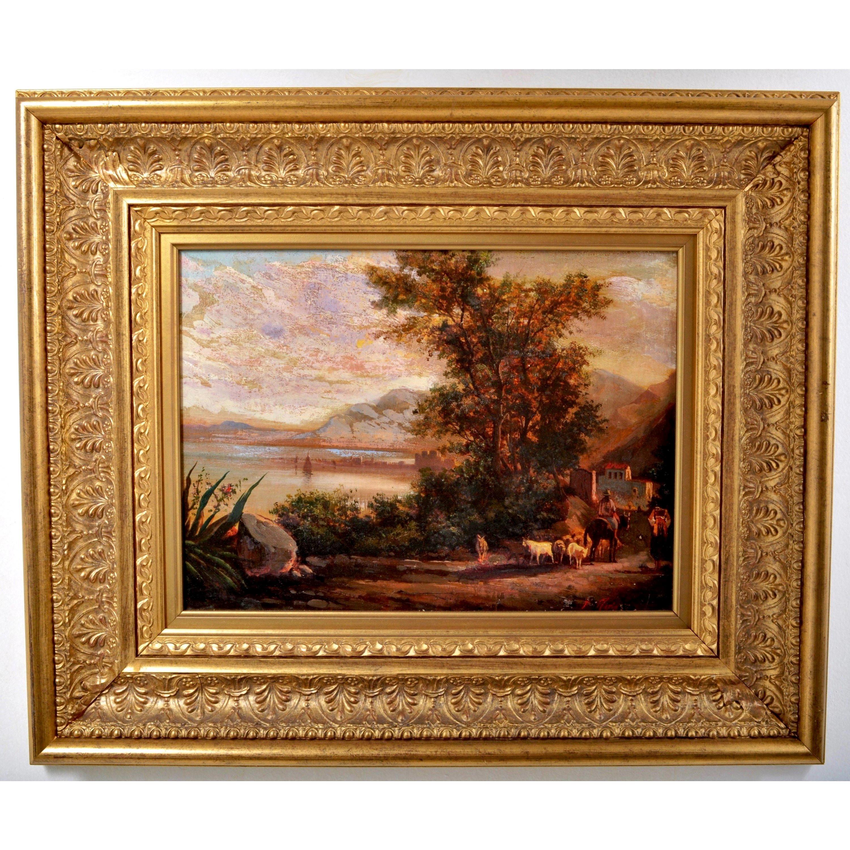 19th century French Barbizon School Painting oil on Canvas Landscape circa 1840