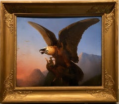 "19th century French Bird of Prey painting ""Vautour des Alpes"" Regency Eagle"