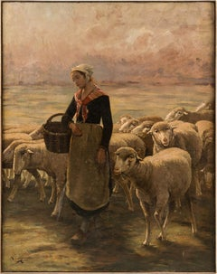 19th century French flandscape painting - Shepherdess figure - Oil canvas France