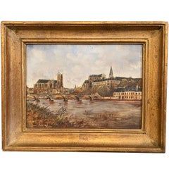 19th Century French Hand Painted Porcelain Plaque of the City of Auxerre