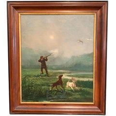 19th Century French Oil on Canvas Hunter and Dogs Painting in Walnut Frame