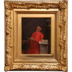 19th Century French Oil on Canvas Priest Painting in Gilt Frame