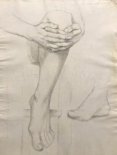 19TH CENTURY FRENCH REALIST ATELIER ACADEMIE DRAWING - MALE ANATOMY LEG