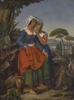 19th Century French school, Two italian women in a landscape, an oil sketch