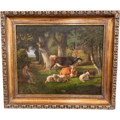 19th Century French Sheep Painting on Board in Carved Gilt Frame