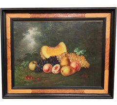 19th Century French Still Life Oil Painting on Canvas Signed and Dated 1878