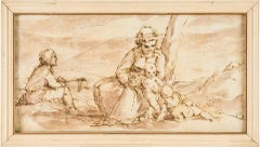 19th century Italian figure drawing - Holy Family - ink on paper baroque Italy