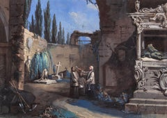 19th century Italian figure painting - Landscape cemetery - Tempera paper Empire