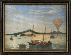 19th century Italian painting - View of Naples - Gouache on paper Tempera Italy