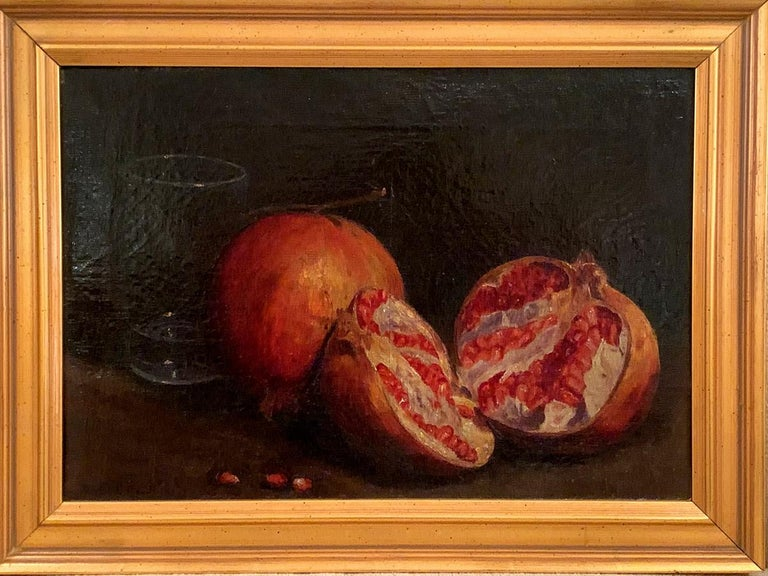 Victorian Gold Wood Frame Antique American School Oil Painting Still Life Botanical 19th c
