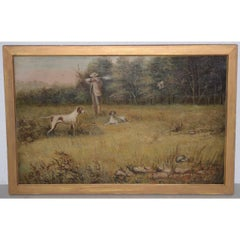 "19th Century Landscape ""Bird Hunting"" w Hunter and Dogs"