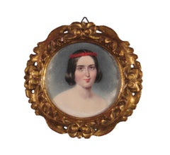 19th Century Miniature Portrait Painting of a Beautiful Young Woman - Signed