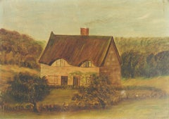 19th Century Naive House Painting English signed C Brown