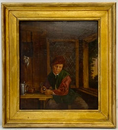 19th Century Oil Painting Man W/ Pipe