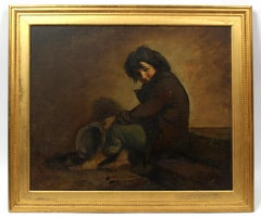 19th Century Oil Painting Young Boy Signed Illegibly Dated 1871 Rare American