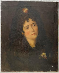 19th Century Oil Portrait of a Woman After Manet