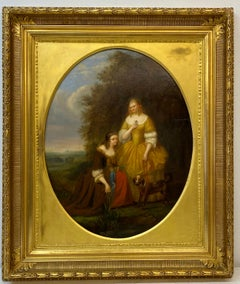19th Century Oil Portrait of Two Sisters With Their Dog c.1870
