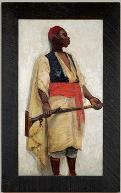 19th Century Orientalist School Portrait of an African Guard Oil Dated 1891