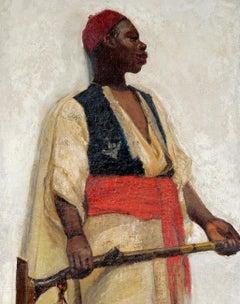 19th Century Orientalist School Portrait of an African Guard Oil Dated 1891