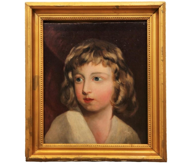 Portrait of a young girl from the turn of the century. The painting is framed in a gold frame.  Dimensions without Frame: H 14.25 in x W 12.25 in. x D 1 in.