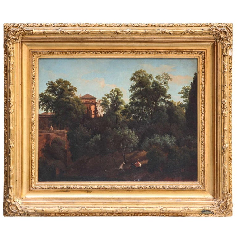 19th Century Roman Landscape oil on canvas with Giltwood Frame - Painting by Unknown