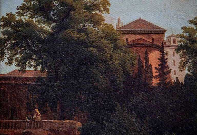 19th Century Roman Landscape oil on canvas with Giltwood Frame - Old Masters Painting by Unknown