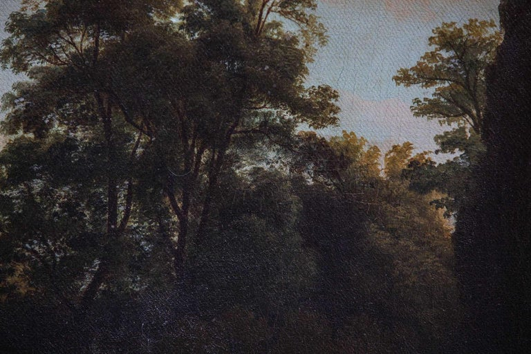 19th Century Roman Landscape oil on canvas with Giltwood Frame - Brown Figurative Painting by Unknown