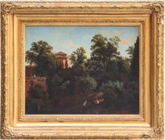 19th Century Roman Landscape oil on canvas with Giltwood Frame
