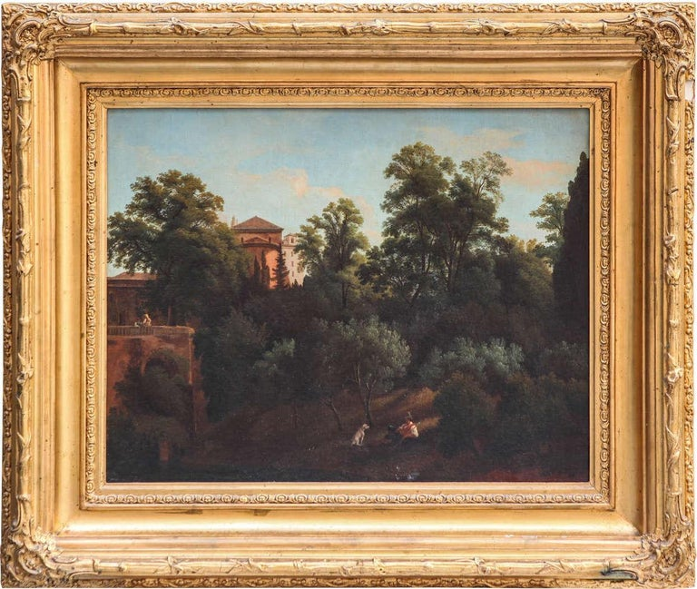 Unknown Figurative Painting - 19th Century Roman Landscape oil on canvas with Giltwood Frame