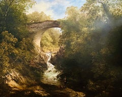 19th century Scottish wooded landscape with stone bridge over a flowing river