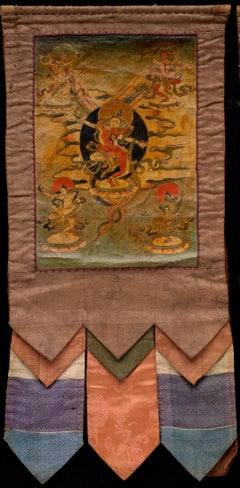 19th Century Small Tibetan Thangka with Original Brocades from a Set of 3