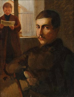 19th Century, Two men in an interior, a double portrait,  oil on canvas