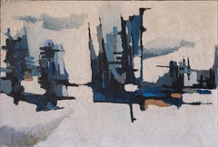 20th Century Abstract Expressionism The Blue City French School Oil On Canvas
