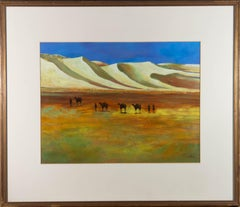 20th Century Acrylic - Desert Landscape with Camels