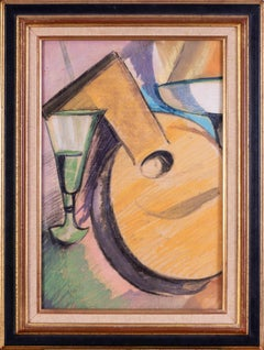 20th Century Continental school still life painting of a mandolin and glass